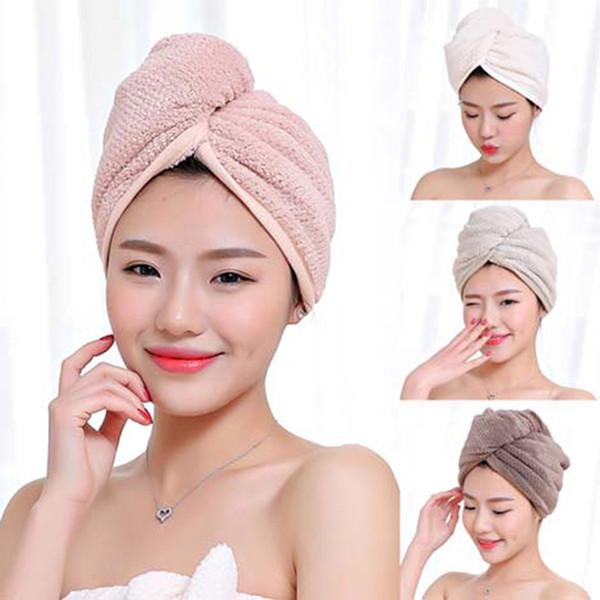 Düğme Tasarım, Kadın Banyosu Süper Emici Kurutucu Saç Havlu ile Mikrofiber Saç Hızlı Kurutma Havlu Banyo Wrap Şapka Hızlı kuruyan Cap Turban