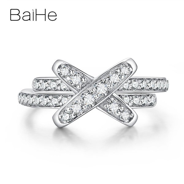 baihe solid 18k white gold about 0.56ct h/si round cut 100% genuine natural diamonds wedding women trendy fine jewelry gift ring, Golden;silver