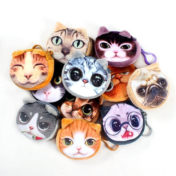 17 Colors New bag coin purse wallet ladies 3D printing cats dogs animal big face change fashion cute small zipper bag for gift #139461