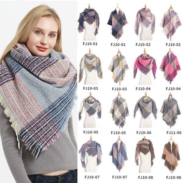 Sciarpa scozzese inverno donne scialli di cachemire poncho triangolo sciarpe marca signore sciarpe delle donne shaws tartan Sciarpe LE364