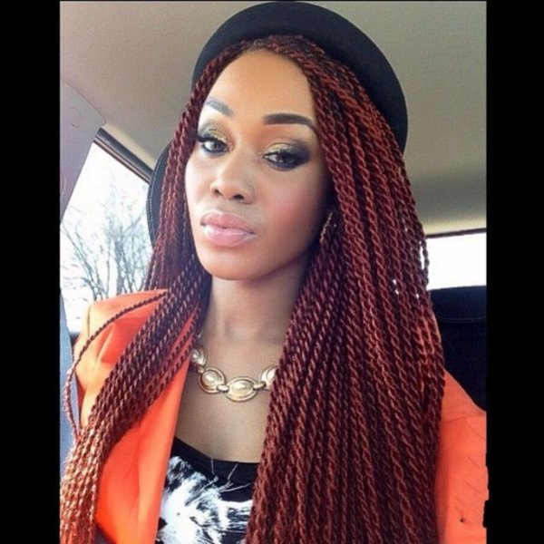 High quality TWIST Braided Wig burgundy wine red color color senegalese twist full Lace Front Wigsr Long Braid Wigs with Baby Hair