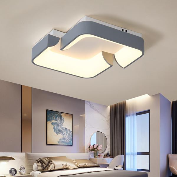 Lustre carré LED moderne pour le salon Lit Cuisine Décoration Métal + acryl plafond Lustre Appareils d'éclairage AC 100-240V