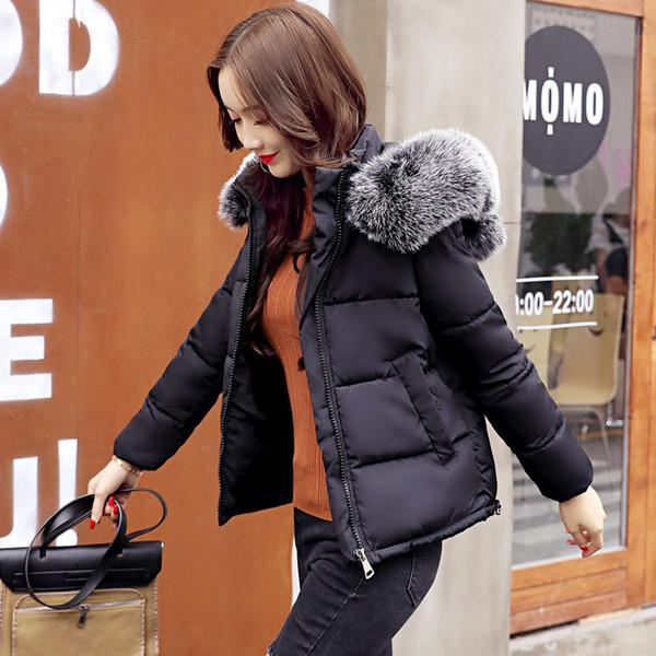 Moda Casual Mulher Quente Curto inverno casacos e jaquetas Pockets manga Parka com capuz Feminina completa Mulher Coats