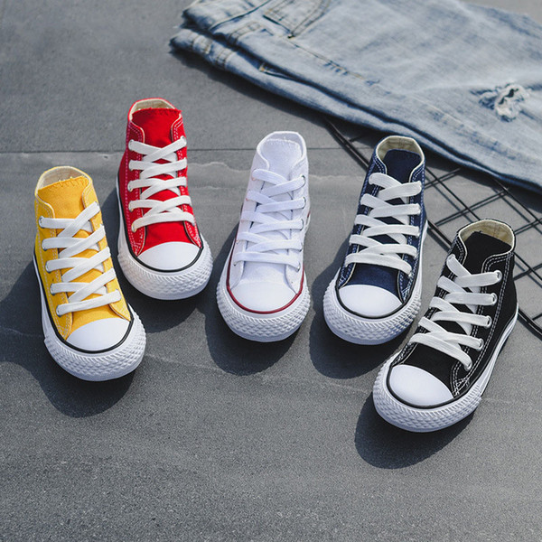 top popular Kids shoes baby canvas Sneakers Breathable Leisure designer shoes children boys girls High top Shoes 5 colors C6542 2019