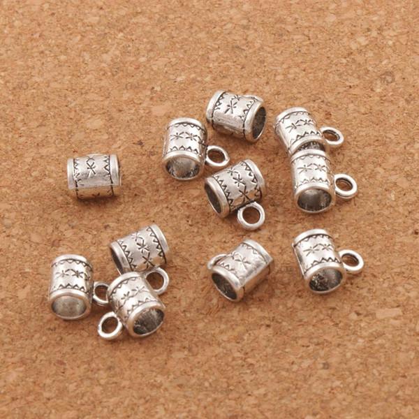 Fashion Flower Bail Metals Loose Beads with Loops 250pcs/lot 8X10mm Tibetan Silver for European Charm Bracelet Production Bracelets Necklace