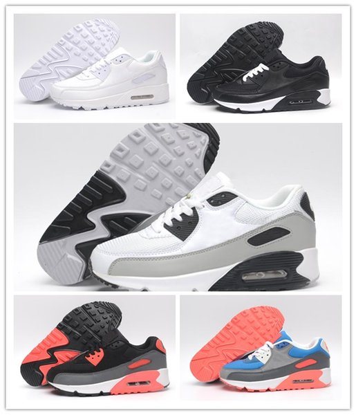 2017 Mens Sneakers Shoes classic 90 Men Running Shoes Black Red White Sports Trainer Alr Cushion Surface Breathable Sports Shoes 40-45