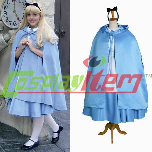 Alice's Adventures in Wonderland Alice maid dress Cosplay Costume cape