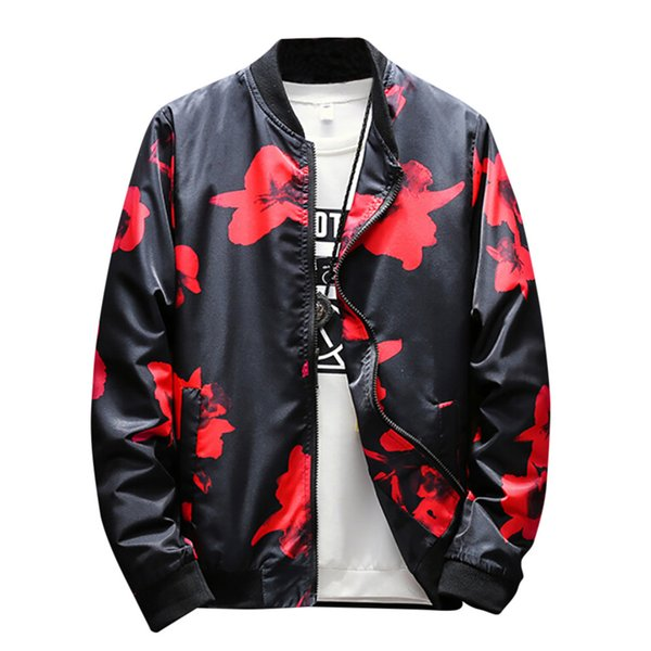 FeiTong Jacket Men Winter Coat Mens Clothing Stand Retro Printed Zipper Coat Outwear Overcoat Streetwear Jacket