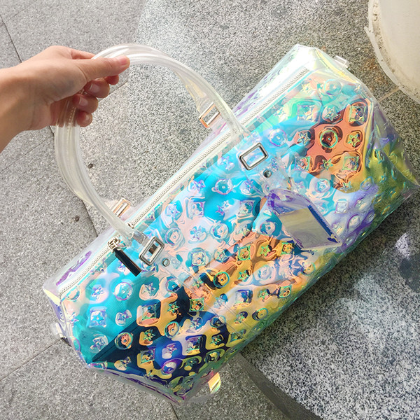 Laser geometrische Handtasche transparente Gepäckbeutel bunte Reisetaschen Frauen totes Handtasche Seesack Sommer Strand Gymnastik Handtaschen FFA1988