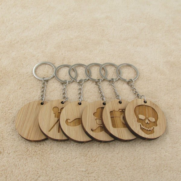 Fashion Jewelry Key Chains New Classic Wood Keychain Camera Flim Gemtleman Mustache Skull Keyring Key Chain