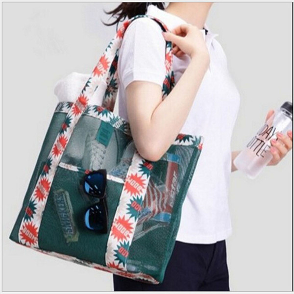 Hot Oxford Printed Tote Print Flower Female Large Capacity Storage Bags Outdoor Travel Beach Mesh Sunglass Clothing Shoulder Bag