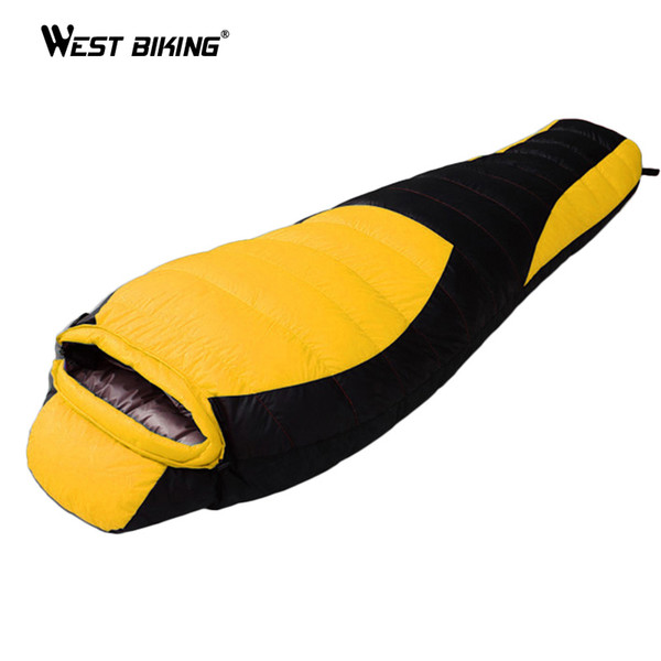 WEST BIKING Ultralight Mummy Sleeping Bag Winter Autumn Lengthened Thicken Camping Splicing White Duck Down Single Sleeping Bag