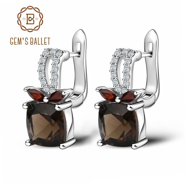 GEM'S BALLET 2.2ct Smoky Quartz Genuine 925 Sterling Silver Natural Gemstone Clip Earrings For Women Wedding Engagement jewelry Y190125
