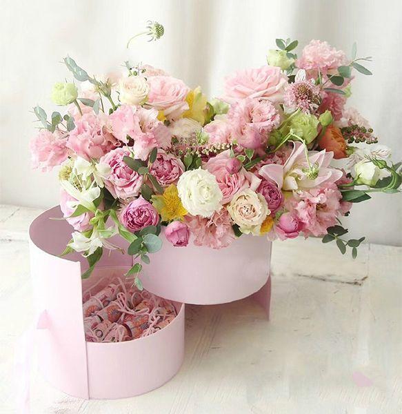 Kurdele ile çift Katmanlı Yuvarlak Çiçek Kağıt Kutuları Gül Buketi Hediye Paketleme Karton Kutu sevgililer Günü Düğün Dekorasyon