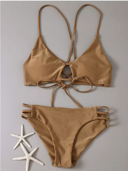 EE.UU. Moda Bikinis Empuje hacia arriba Traje de baño Traje de baño Mujeres Bikini Set 2019 Verano Ropa de playa Traje de baño sólido Ropa de baño Dama Sexy Biquinis de playa