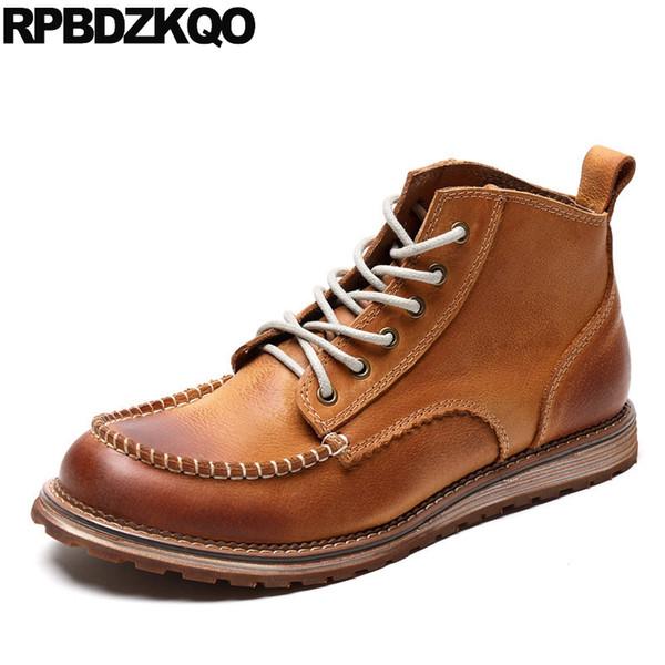botas genuínos sapatos feitos à mão de couro de outono inverno homens curtas confortáveis marrom botas com pele de flor integral 2019 lace up preto