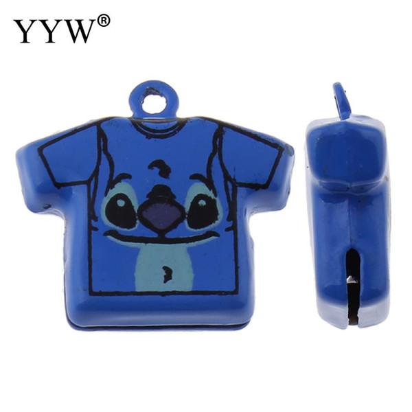 50pcs / sac en laiton pendentif bell vêtement peint bleu jingle bells 22x24x8mm décoration bébé cadeau pour bracelet charme diy pendentif