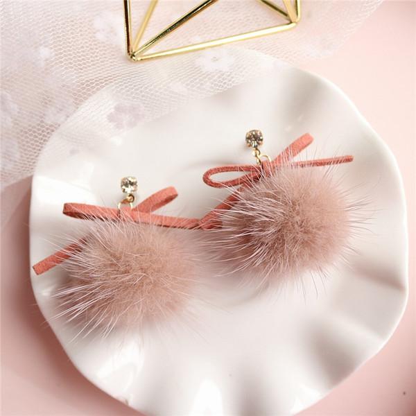 Nouveau Japonais Coréen Hiver Long Bowknot Boule De Fourrure Boucle D'oreille Pour Les Femmes Tempérament Pendientes Partie Oorbellen Bijoux De Mode