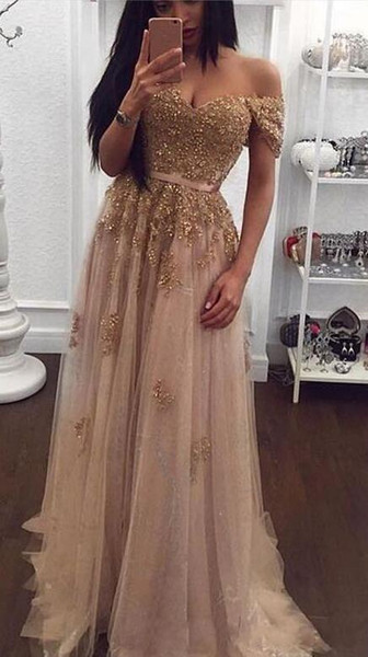 Champagne Lace Beaded 2019 New Arabic Evening Dresses Sweetheart A-line Tulle Prom Dresses Vintage Cheap Formal Party Gowns vestidos de