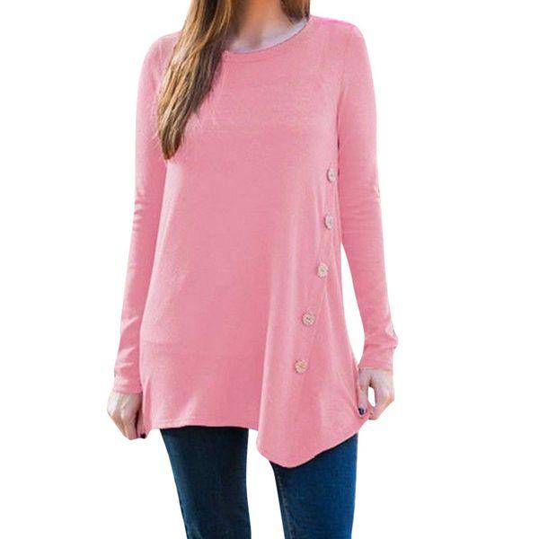 2019 mujeres del verano Tops y camisas de alta calidad calientes mujeres modelos casual de las señoras Botón redondo de manga larga de cuello camisa de la camiseta