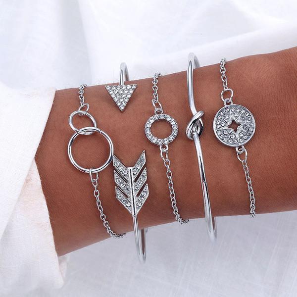 5 PCS Bohemian Arrow Knot Compass Cuff Bangle Bracelets Women Girls Rhinestone Crystal Gold Silver Bracelets Sets Jewelry Gifts