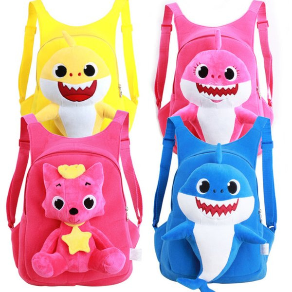 Baby Shark Plush Backpack Soft Toys School Bag Animal Toy Backpack Mini Cartoon Preschool Bag for Children Girls Boys MMA1466