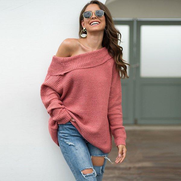 Сексуальный повседневный трикотажный свитер женщин осень-зима 2019 года одежда свободного покроя пуловеры топы уличная одежда розовый теплый свитер