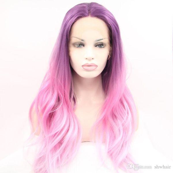 Parrucca lunga viola rosa Ombre lunga ondulata Glueless Parrucca anteriore in pizzo rosa bicolore sintetica per le donne bianche