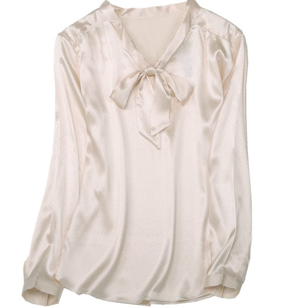 100% natural silk Blouses OL Beige Long Sleeve Real Silk Bow Tie Blouse Tops for women Office Wear Shirts work Blouses