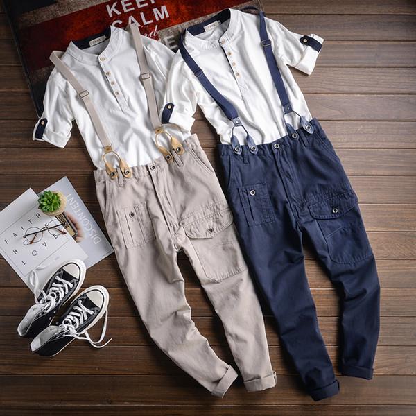 6ebc89202 Compre S 4XL Moda Japonesa De Los Hombres Nuevos Pies Sueltos Casual  Susperdens Pantalones Moda Masculina Casual Herramientas Correas Babero ...