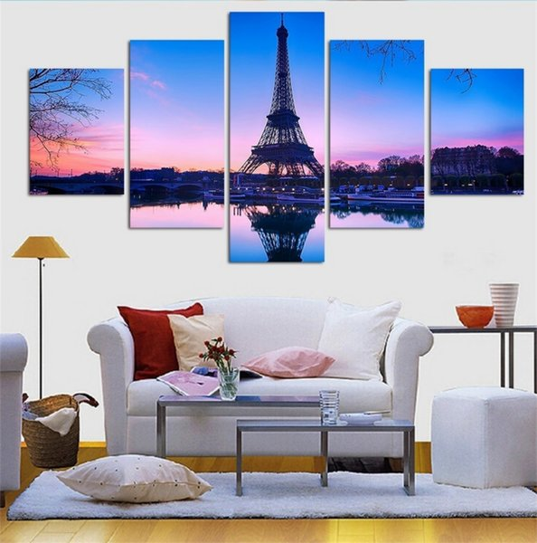 Paris Eiffel Tower,5 Pieces HD Canvas Printing New Home Decoration Art Painting /Unframed/Framed