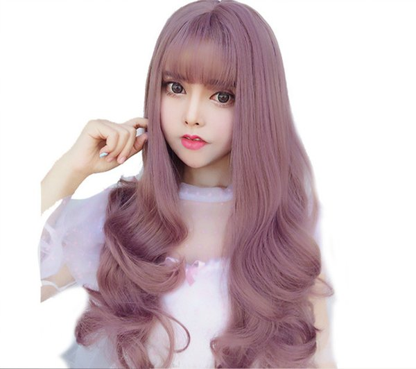 Wig female simulation long curly hair oblique bangs pear head Korea air bangs natural realistic big wave headgear