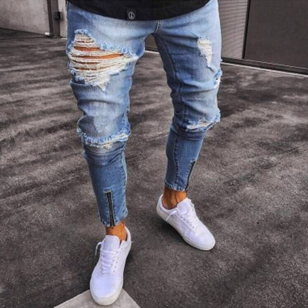 Cotton Jean Men's Pants Vintage Hole Cool Trousers for Guys 2019 Spring Europe America Style Plus Size 3XL Ripped Jeans Men