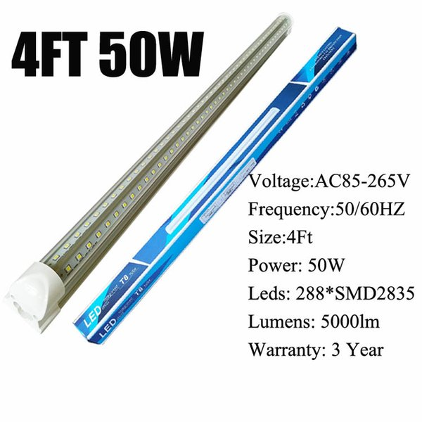 4Ft 50W V-Shaped Clear Cover