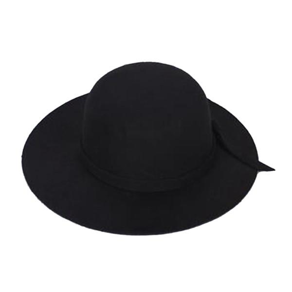 Crianças elegantes Meninas Wide Brim Retro Felt Bowler Cap Floppy Cloche Hat