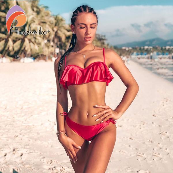 Anadzhelia Sexy Lotus Leaf Bikinis Women Swimsuit Brazilian Bikini Set Beach Bathing Suit Push Up Three Piece Swimwear Swim Y19072301