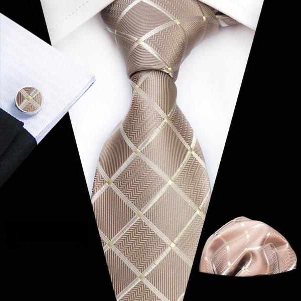 Костюм Галстук Галстуки для мужчин Gravatas Мужские аксессуары Широкий шелковый галстук Геометрический плед Бизнес-платок Платки Запонки