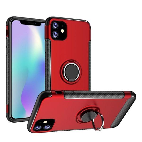 Iphone 11 Pro Max Samsung Galaxy Note 10 S10 Artı A50 A70 Karbon Elyaf Kılıf için 360 Halka Tutucu Manyetik Hibrid Cep telefonu Kutuları