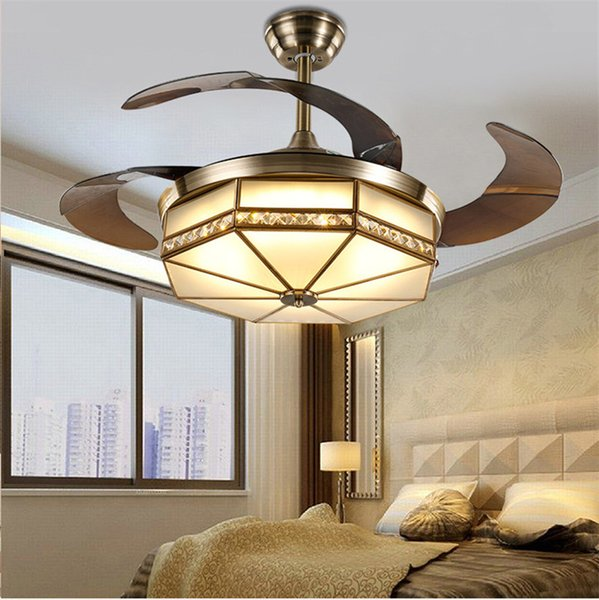 Ceiling Fans Lamp LED 42 inch Copper motor Traditional ceiling fan light dimmer Remote control 110-220V