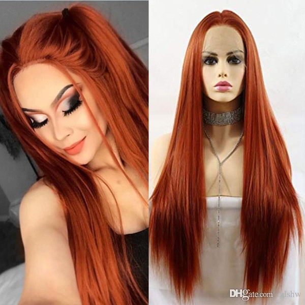 Reta longa Copper Red Lace Synthetic Frente Perucas Glueless de vista natural de alta temperatura fibra peruca de cabelo para mulheres brancas