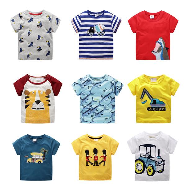 Camisetas para niños Top de dibujos animados para bebés Camiseta bordada para bebés Chaqueta de manga corta para bebés 100% algodón Collar redondo 58