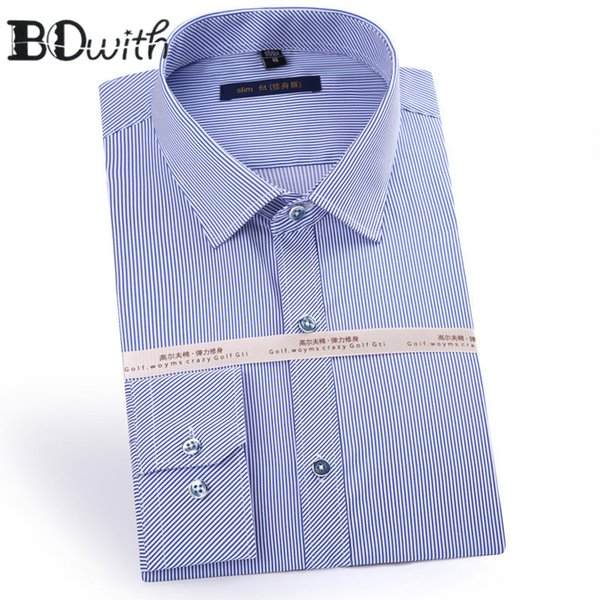2019 Cotton Dark Blue Long Sleeve Square Collar Shirt Men Designer Solid Shirt Non Iron Slim Fit Business Shirts Formal 4XL