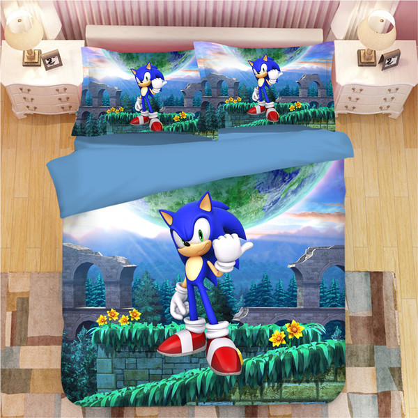 3D Sonic The Hedgehog Bettwäsche-Sets Cartoon Bettbezüge 3d blue anime Bettbezug-Sets single twin full queen king bedclothes