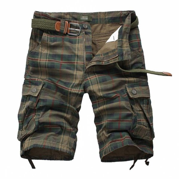 Plaid Men Casual Shorts Men's Camouflage Camo Cargo Shorts Mens Casual Clothing Male Loose Work Man Short