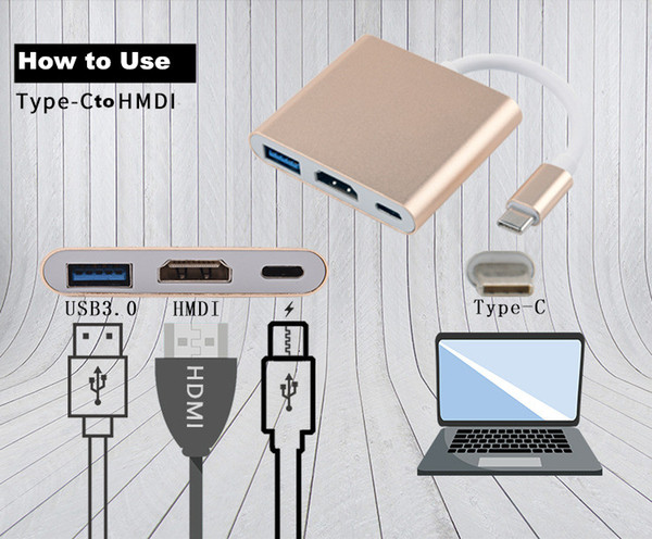 USB 3.1 Type-C to HDMI / USB 3.0 / USB-C Multiport Adapter Charge your laptop / phone Macbook with HDMI port Share movie big Screen