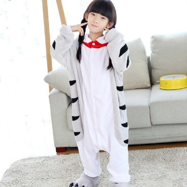 Kedi Doraemon Flanel Pijama Tulum Tulum Çocuk Çocuk Çin Kedi Cosplay Kostüm Kigurumi Battaniye Uyuyanlar Kalça Fermuar J190520