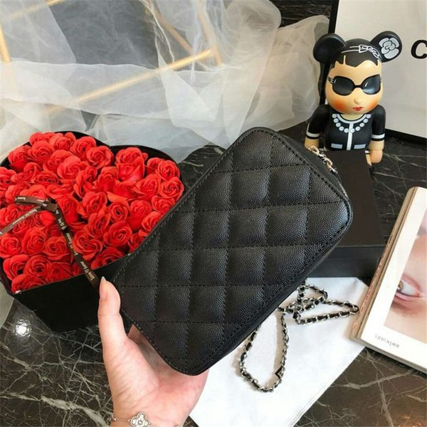 Lady's Handbags Woc Clutch bag Black Caviar Leather Mini Single Flap Chain Shoulder Bags 20cm Small Crossbody Messenger Bag