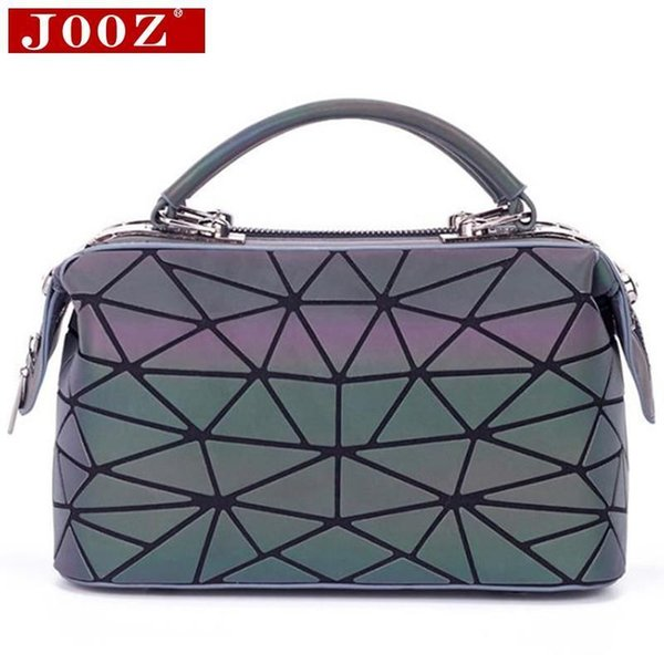 JOOZ Luminous Boston Bag Nice New Short Handle Totes Women Geometry Quilted Handbag Shoulder Clip Female Bag