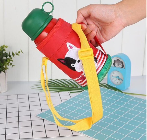 Cute Animal Double Wall Insulated Stainless Steel Kids water Bottle with Straw Thermos Bottle Water Thermo Mug Children Tumbler Water Bottle