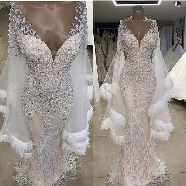 Pena frisada sereia vestidos de casamento de luxo brilhante fora do ombro mangas compridas vestidos de noiva plus size custom made